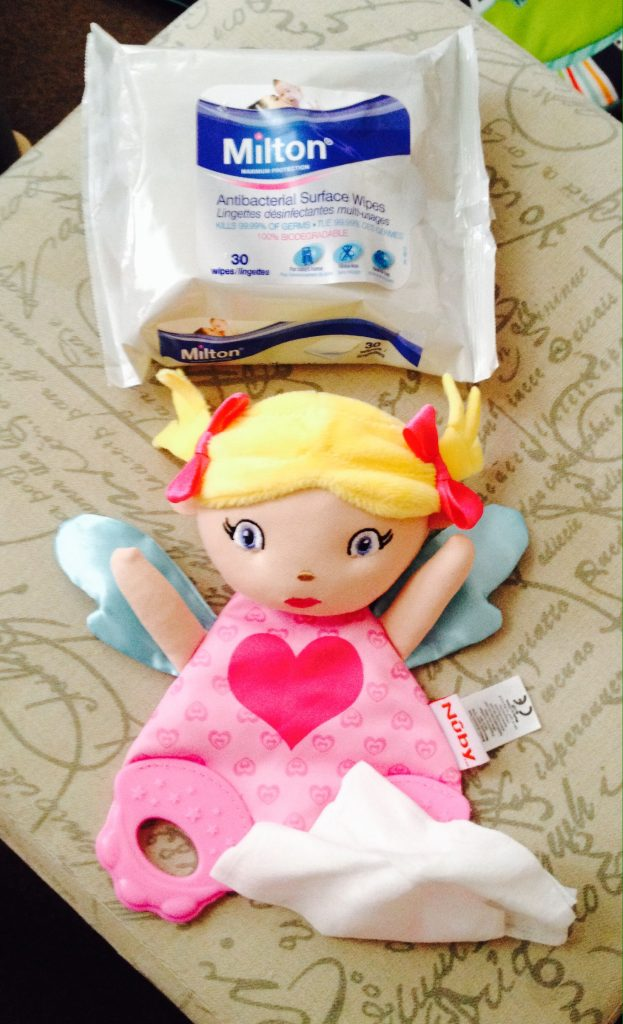 Milton Antibacterial wipes cleaning Lucy the teething toy