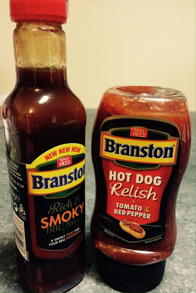 Branston's BBQ sauce and Hot dog relish