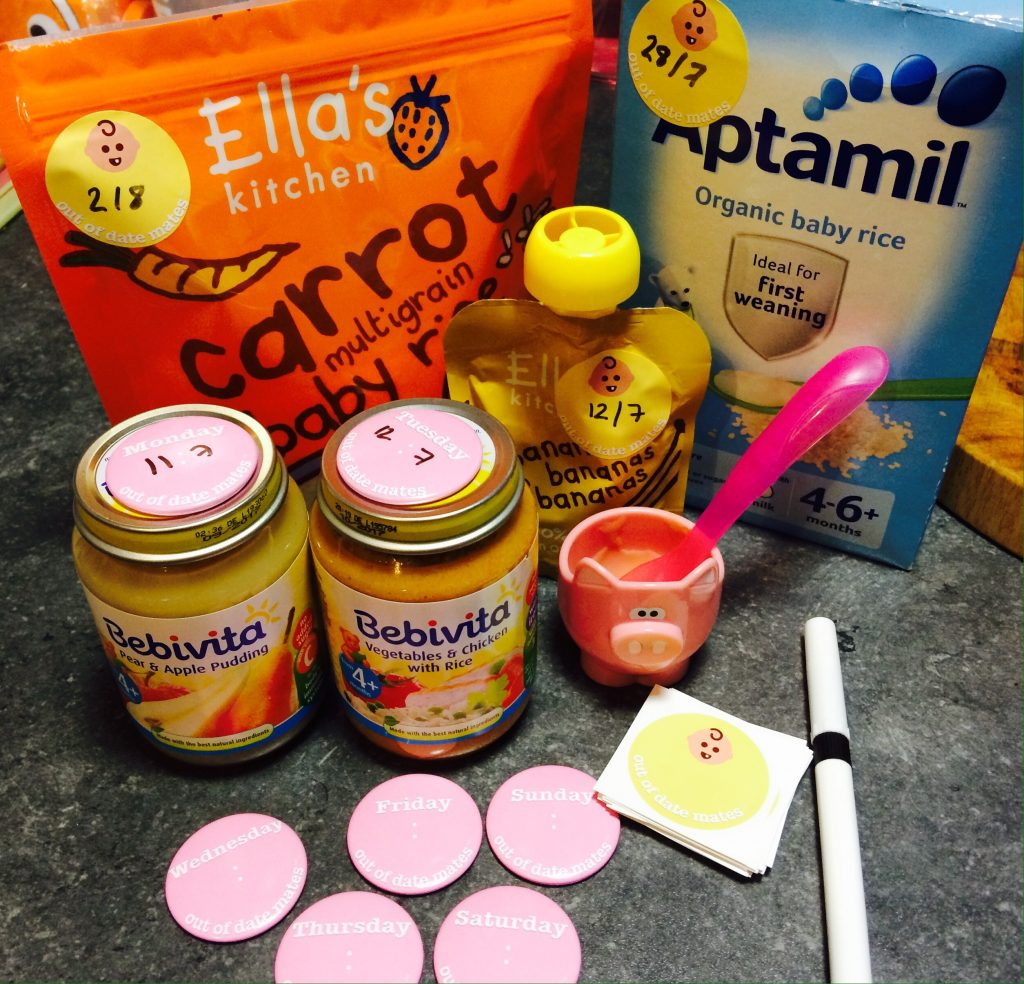 Out of date mates magnets and stickers on baby food for weaning