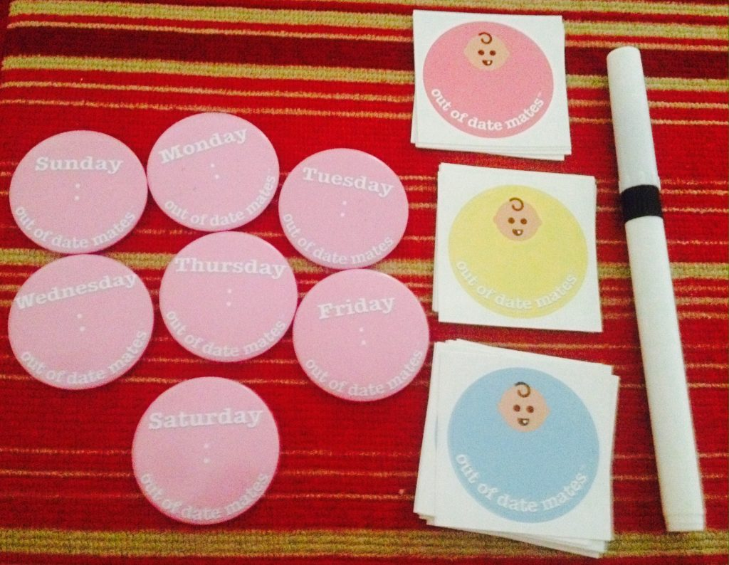 Pink Out of date mates magnets and stickers