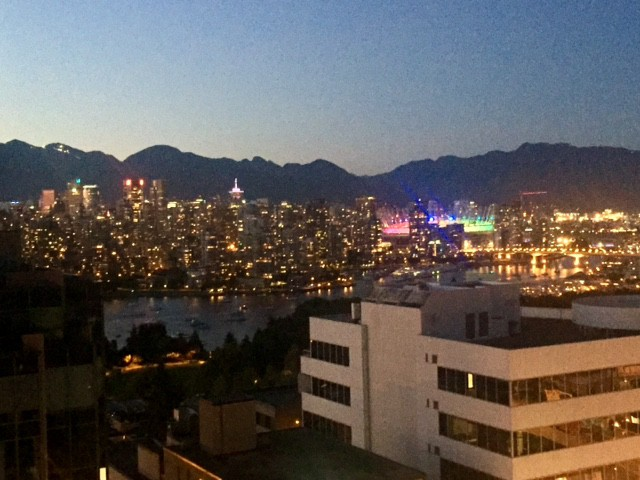Down Town Vancouver during sunset with the North Shore mountains in the background
