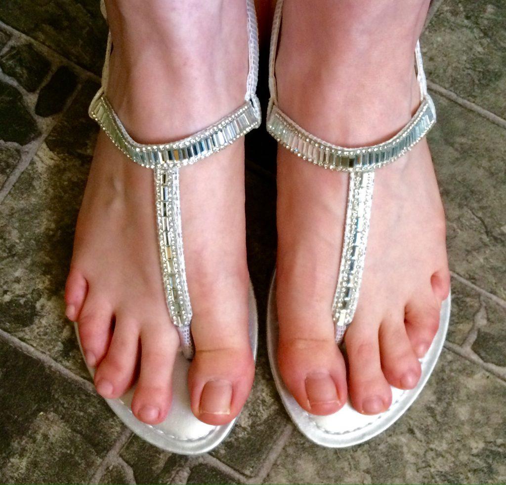 Sparkly toe bar sandals
