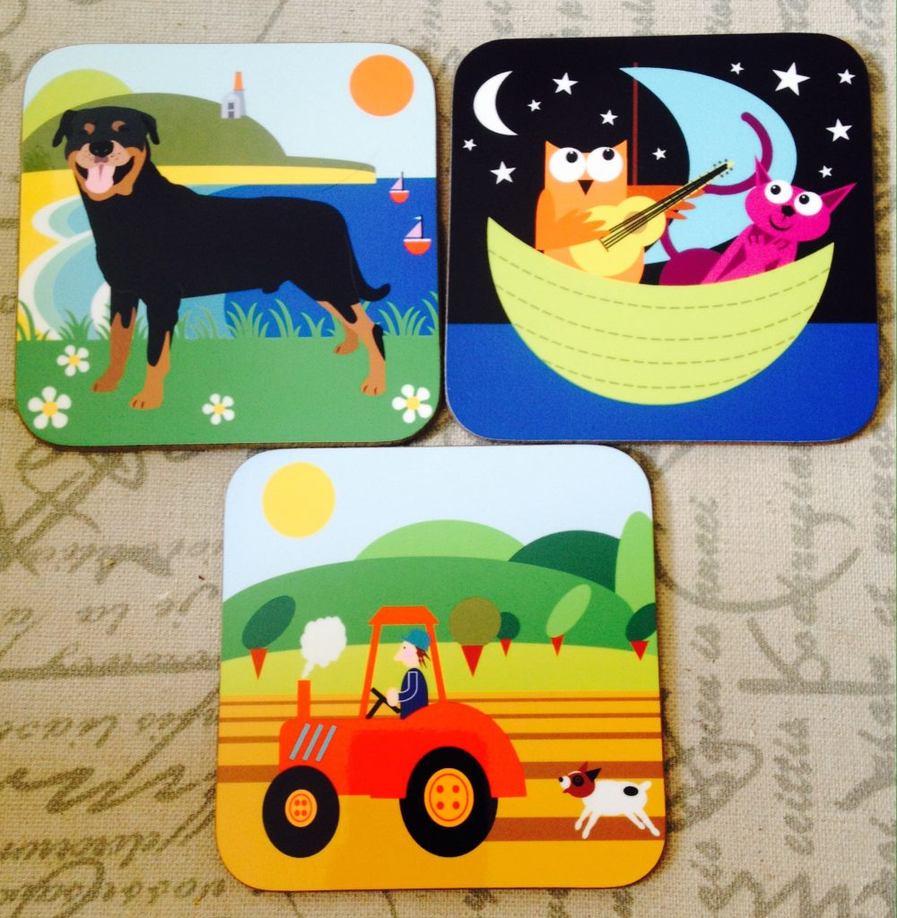 Bright and colourful quirky coasters from Cornish Bird in the Sticks