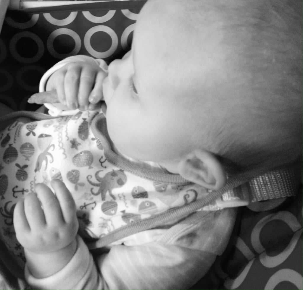 Baby girl enjoying her pumpkin and banana wafer wisp - Rachel Bustin