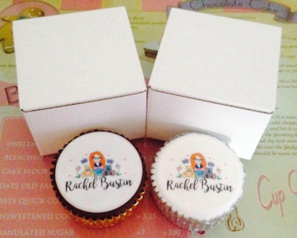 Chocolate sponge cupcake and Vanilla sponge cupcake with my blog logo on the caketoppers