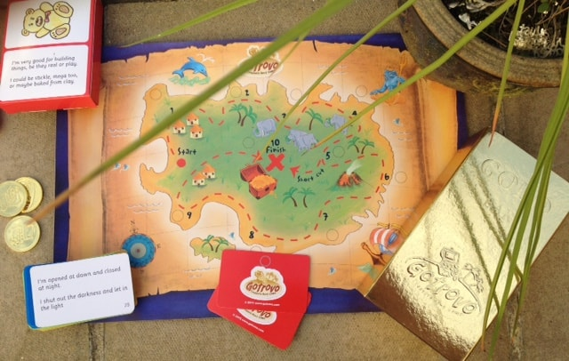 Gotrovo treasure map with clue cards, gold coins nad gold treasure bar - Rachel Bustin
