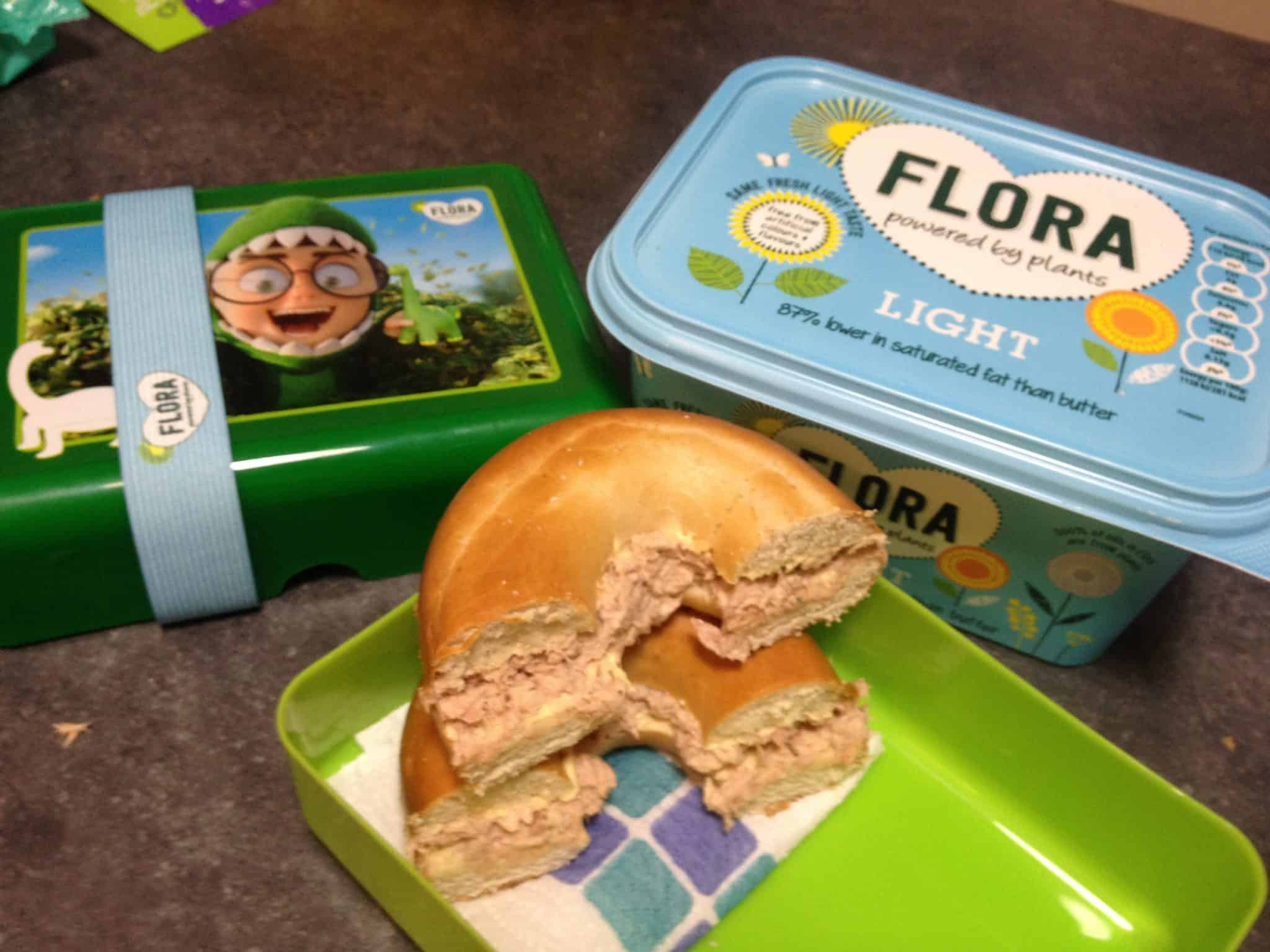 Tuna bagels for the flora lunchbox challenge
