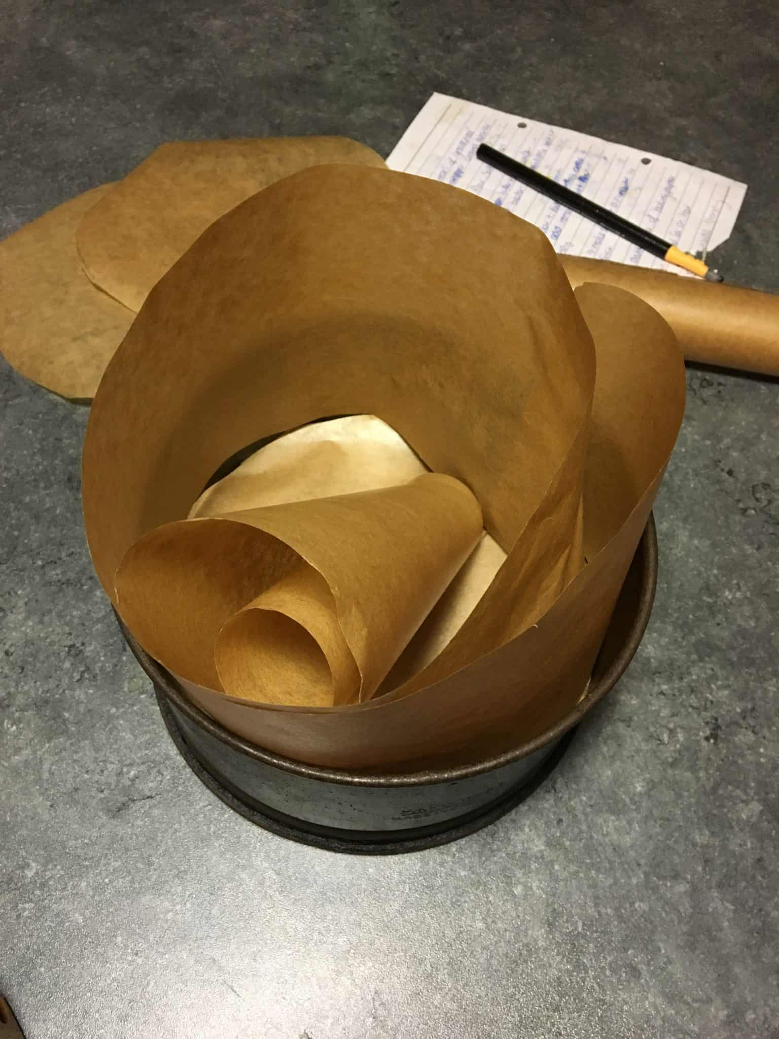 Lining the cake tin with greaseproof paper