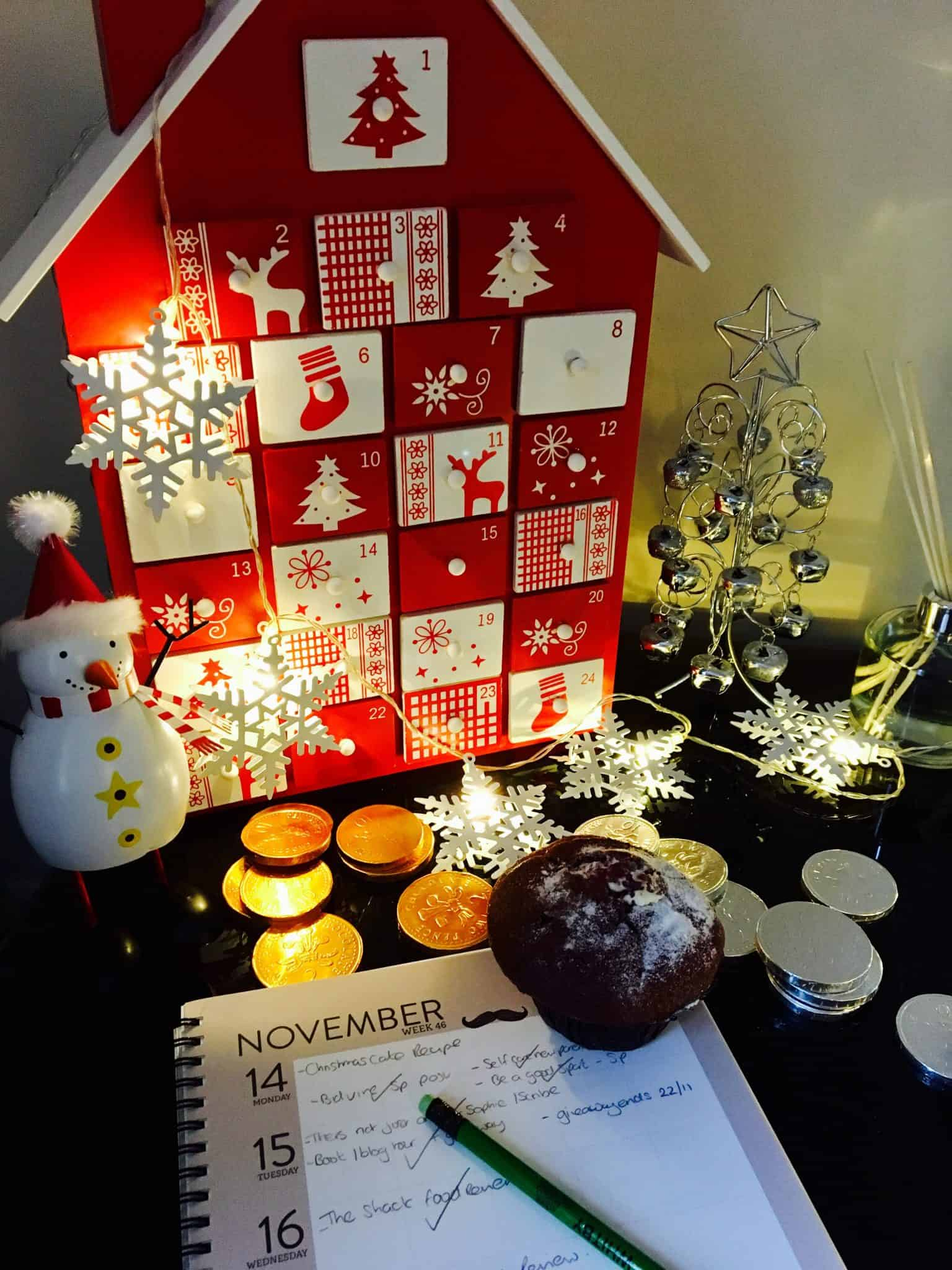 Wooden Advent Calender from Debenhams in my Christmas decorated work space