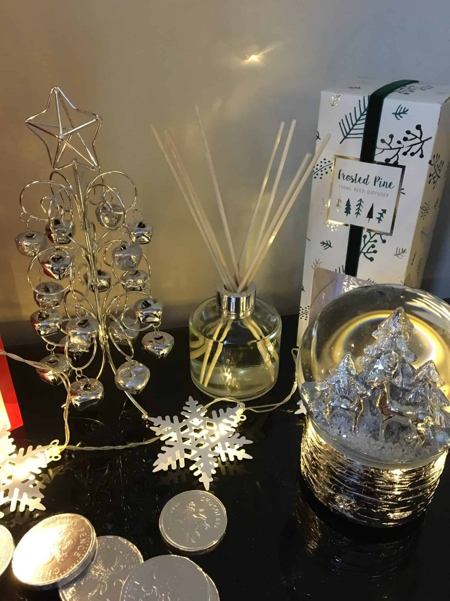 Frosted pine reed diffuser and jingle bell tree