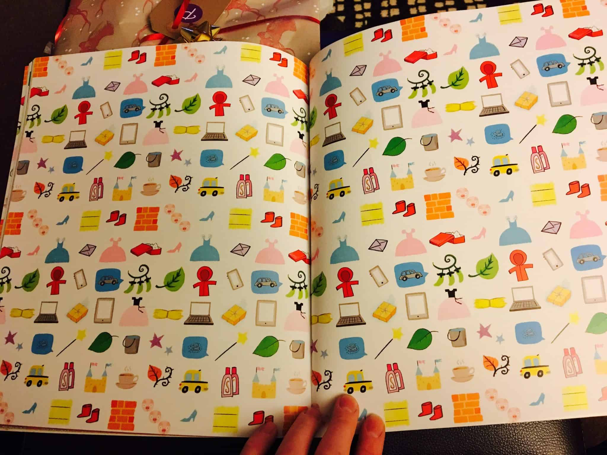 colouful patterns inside the book cover