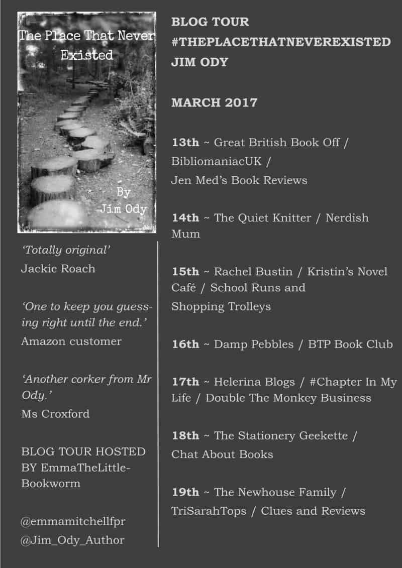 Blog Tour Banner for The Place That Never Existed by Jim Ody