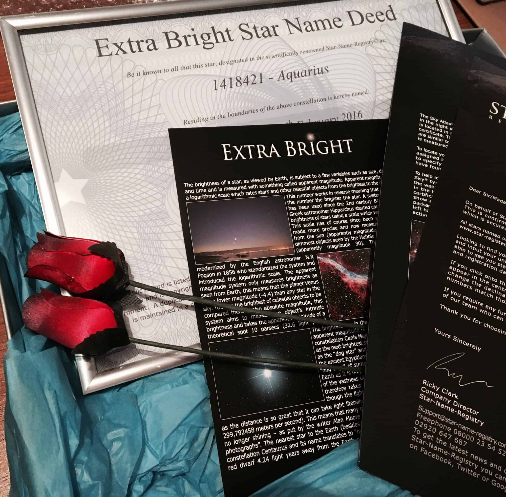 Extra Bright Star Name Deed