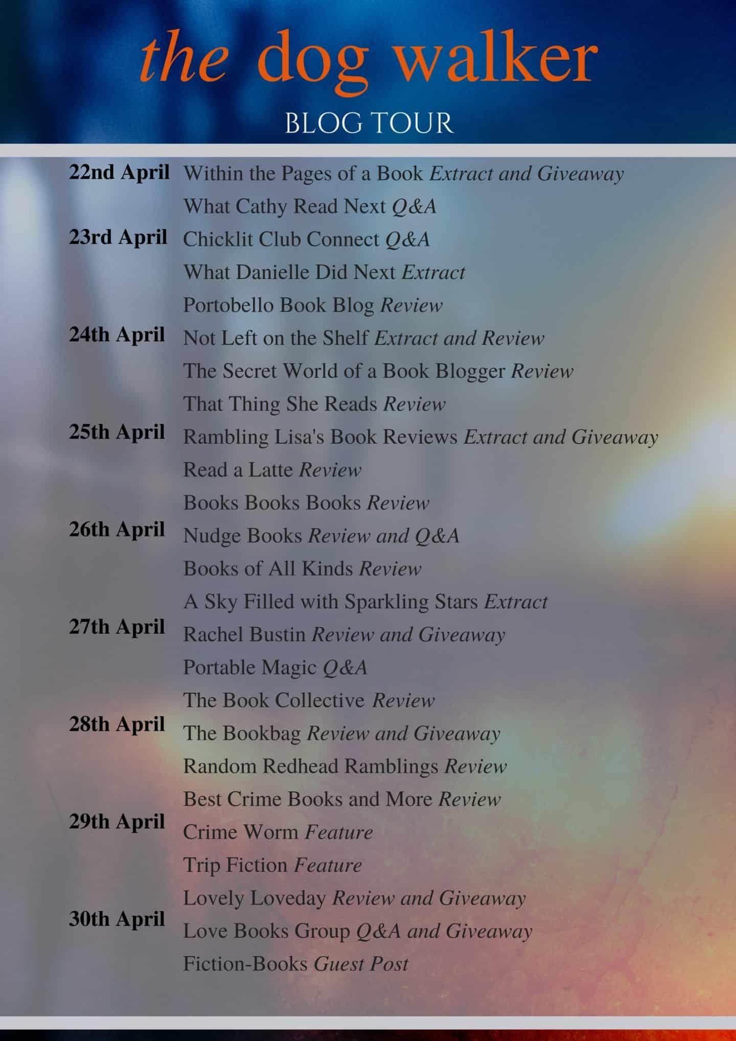 Blog Tour Banner for The Dog Walker by Lesley Thomson