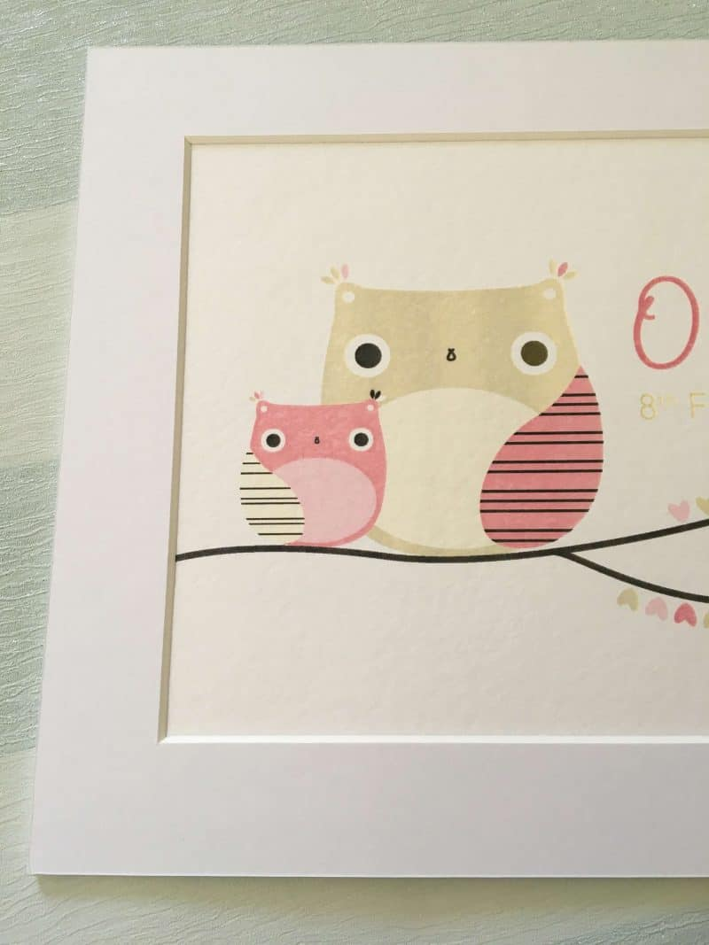 Girls Nursery Owl Print from Arty Apple