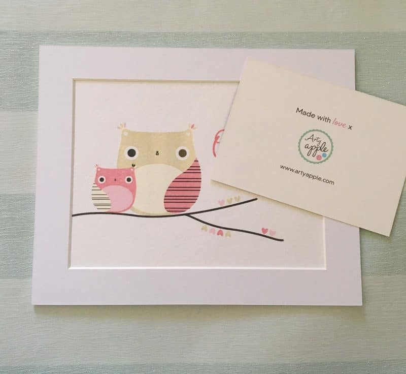 Personalised wall art - Owl print from ARTY APPLE