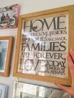 Placing the personalised papercut on wall
