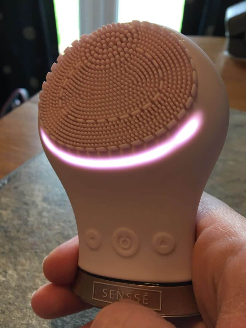 Sensse silicone facial cleansing brush - switched on
