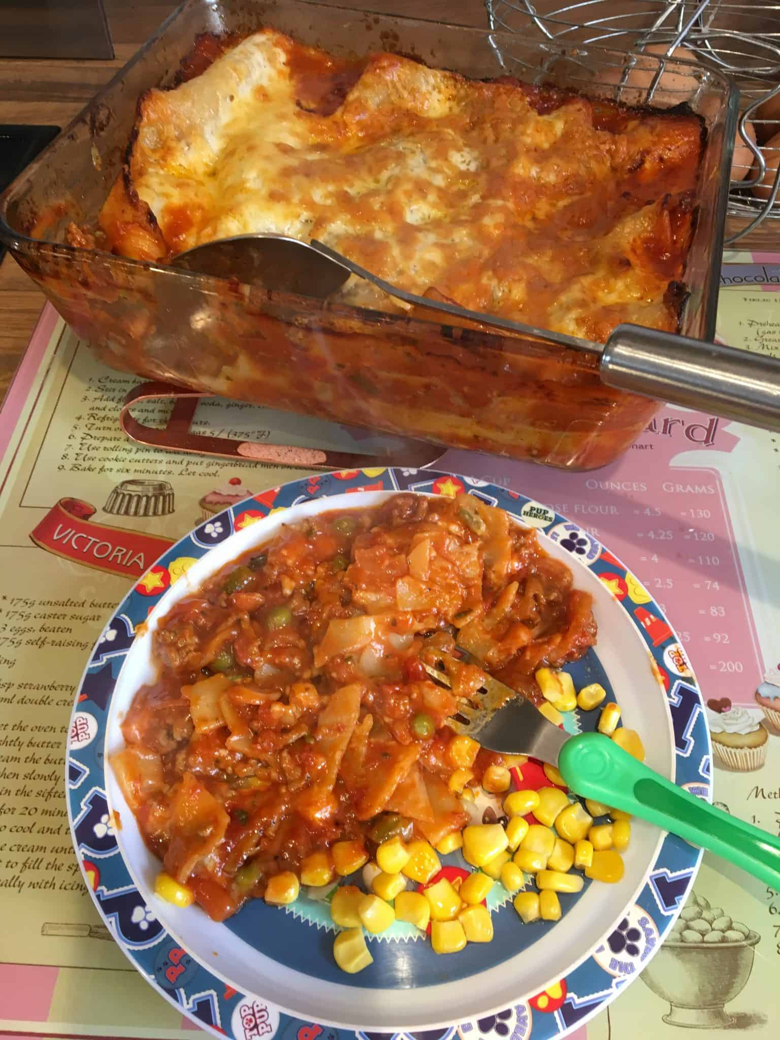 toddler meal - lasagne with hidden veg and sweetcorn