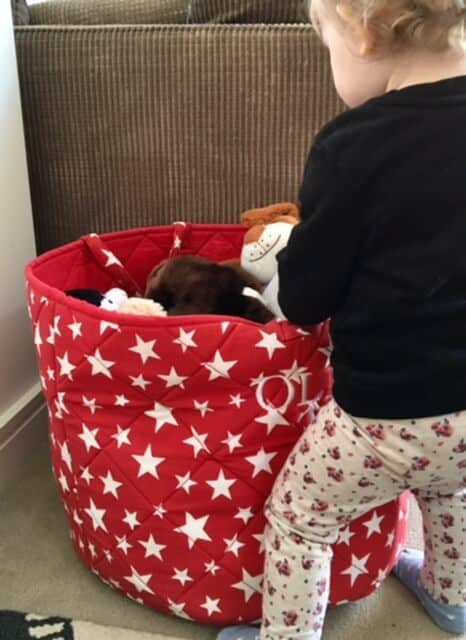 Personalised Red Stars Toy Basket