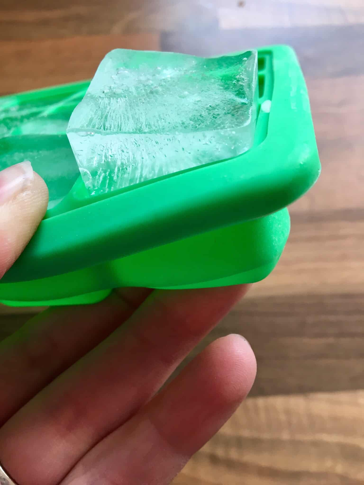 Ice cube in a silicone ice cube tray