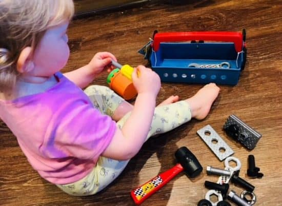 Playing with the Mickey Mouse and the Roadster Racers Pit Crew Toolbox