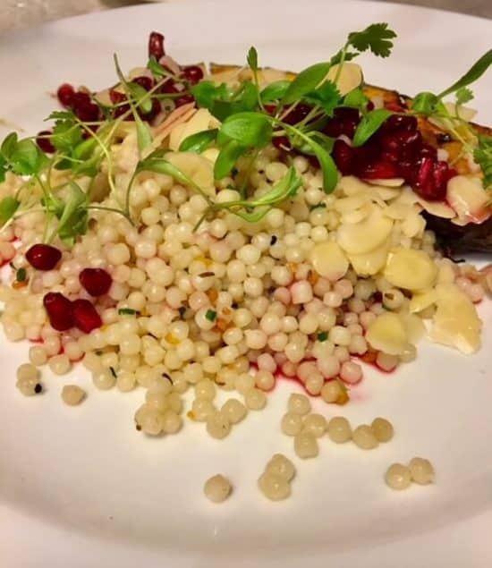 Miso-glazed Aubergine with Cous Cous, Pomegranate and Almond (Vegan)