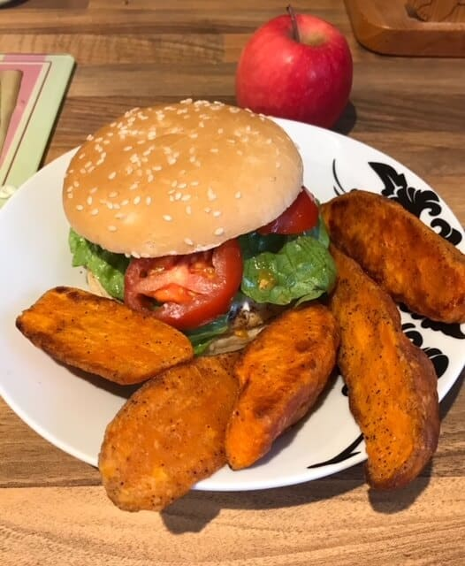 Rustlers chicken burger with sweet potato chips