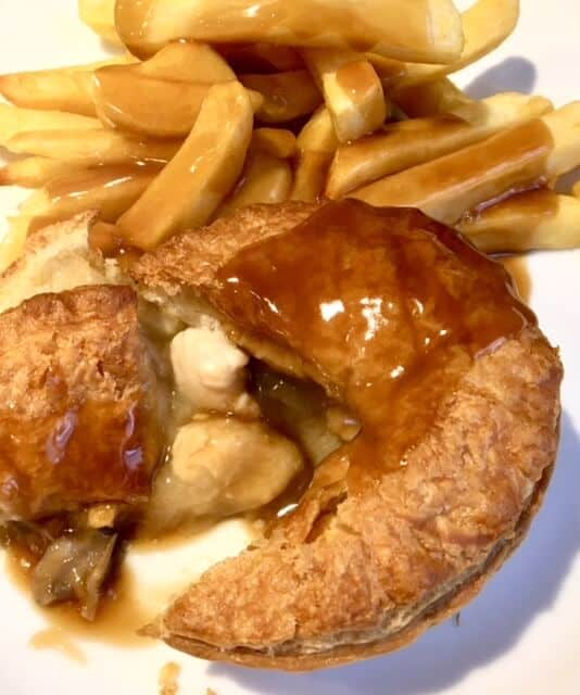 Pukka Pies with chips and gravy