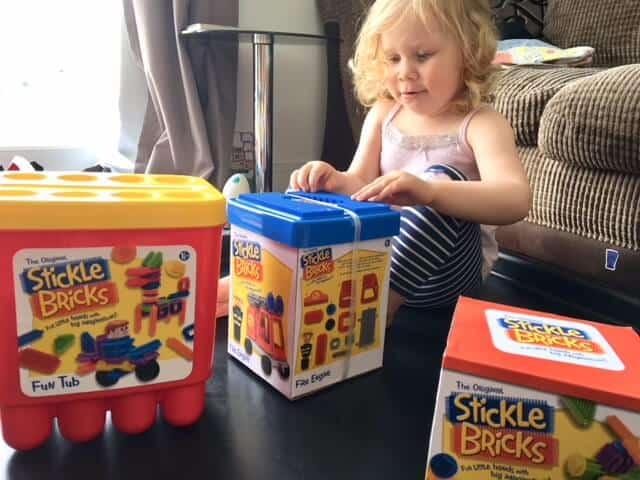 Stickle Bricks fun tub, stickle bricks fire engine.