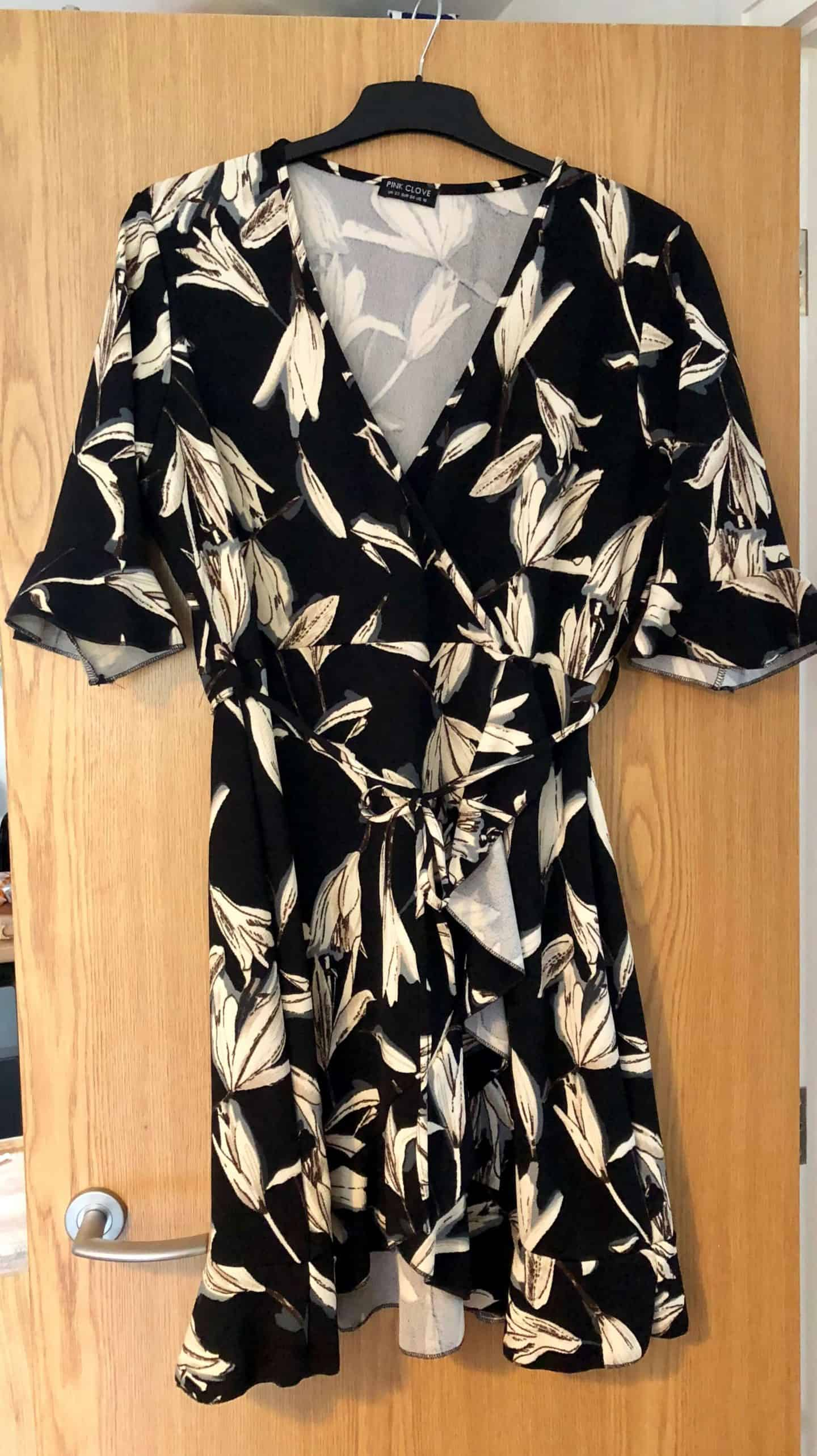 black and white wrap around dress from Pink Clove, plus size