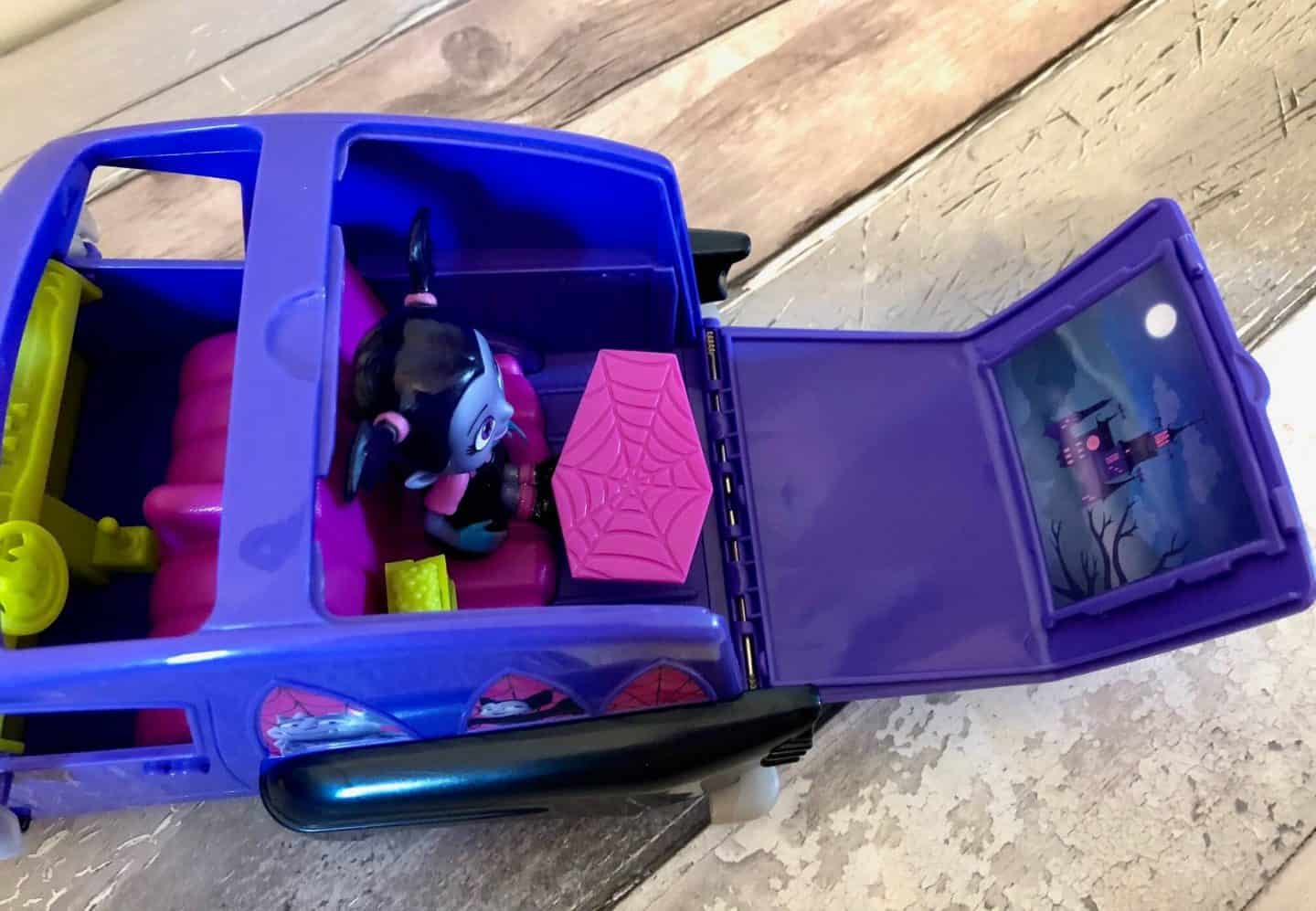 Vampirina Hauntley's Mobile Vehicle transforms into a spook-tacular drive-in cinema. .