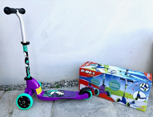 2in1 Scooter - A perfect first scooter, this two-in-one design will grow with your child. Crafted from lightweight materials, easy to carry, with easy grip handles, it features two wheel options to improve balance and co-ordination skills.For ages three to six. Priced at £19.99.