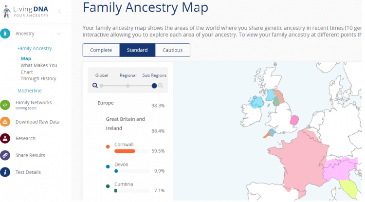Living DNA- Your family ancestry map shows the areas of the world where you share genetic ancestry in recent times