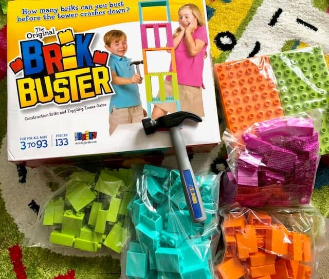 The Original Brik Buster by Strictly Briks was designed by kids as a unique tower toppling game that's fun for the whole family.