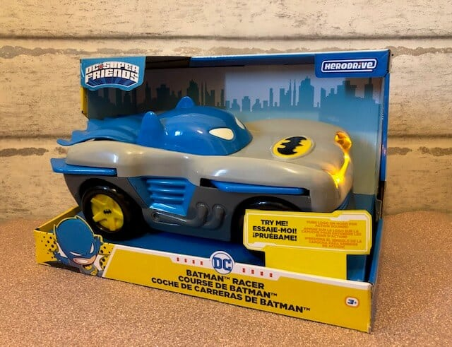 The Herodrive Bat Racer is the ultimate Batman vehicle for little hands. This exciting motorised vehicle features lights, engine sounds, and music that bring the action to life! transform the vehicle into race mode by pushing the windshield forward to make the wings pop out.