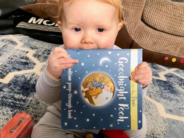 Goodnight Pooh reading book