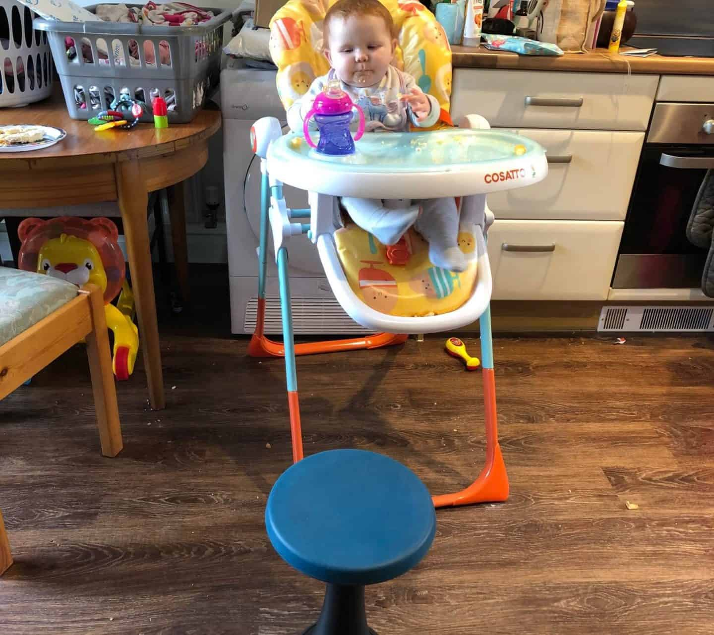 Reviewing The One Leg Stool - feeding the baby