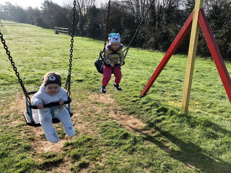 girls on the swings in february 2019