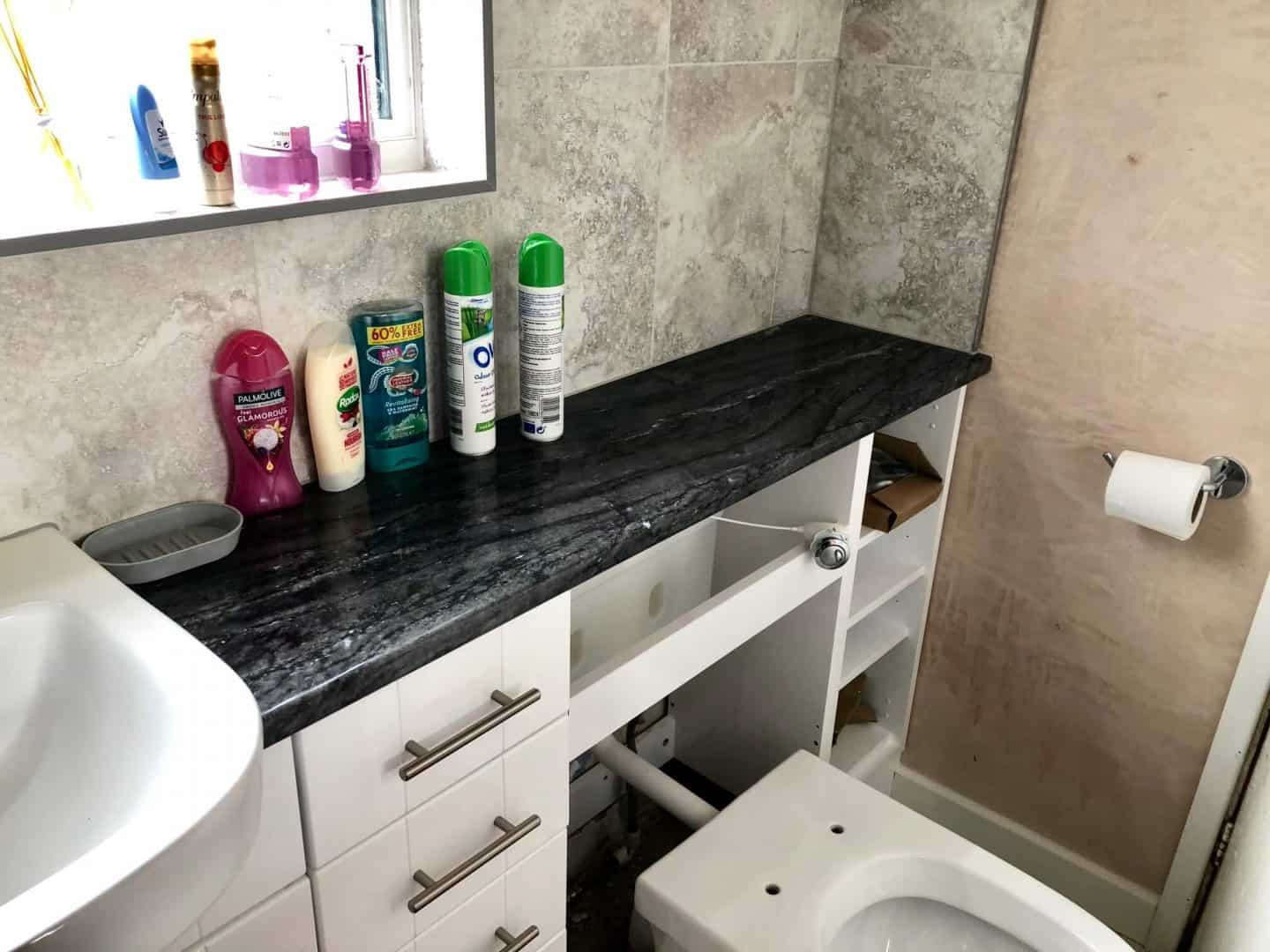 A Miner's Cottage Renovation Project Part 4 - new bathroom worktop and toilet