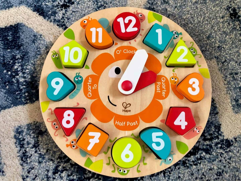 Hape's Kitchen and Food range - shape sorter clock