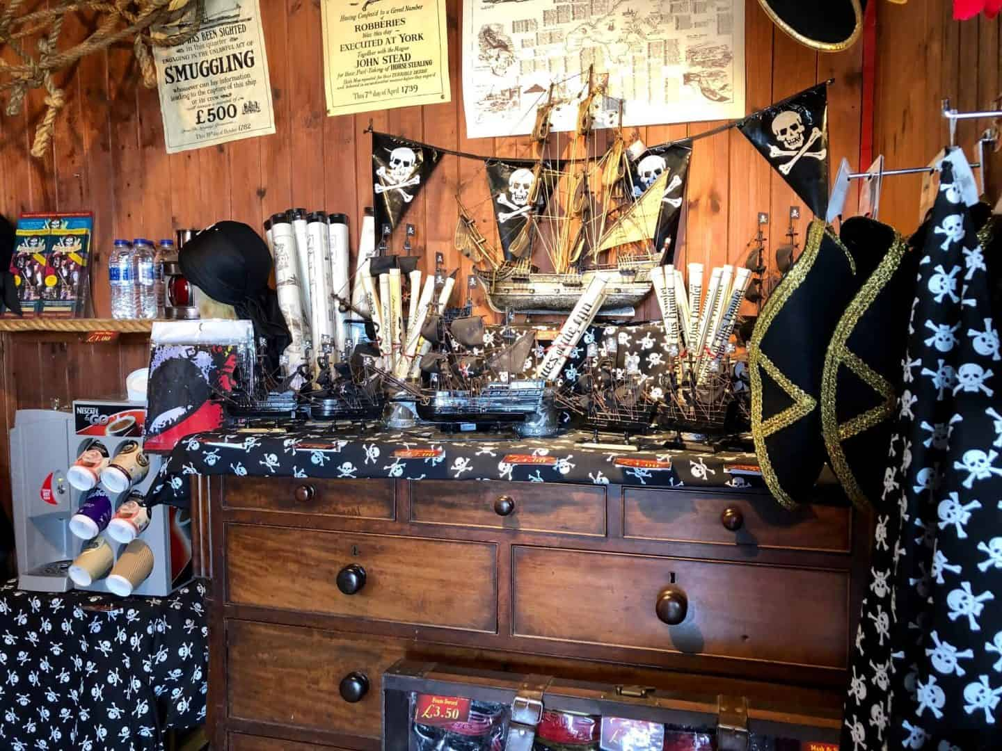 inside the gift shop at pirates quest