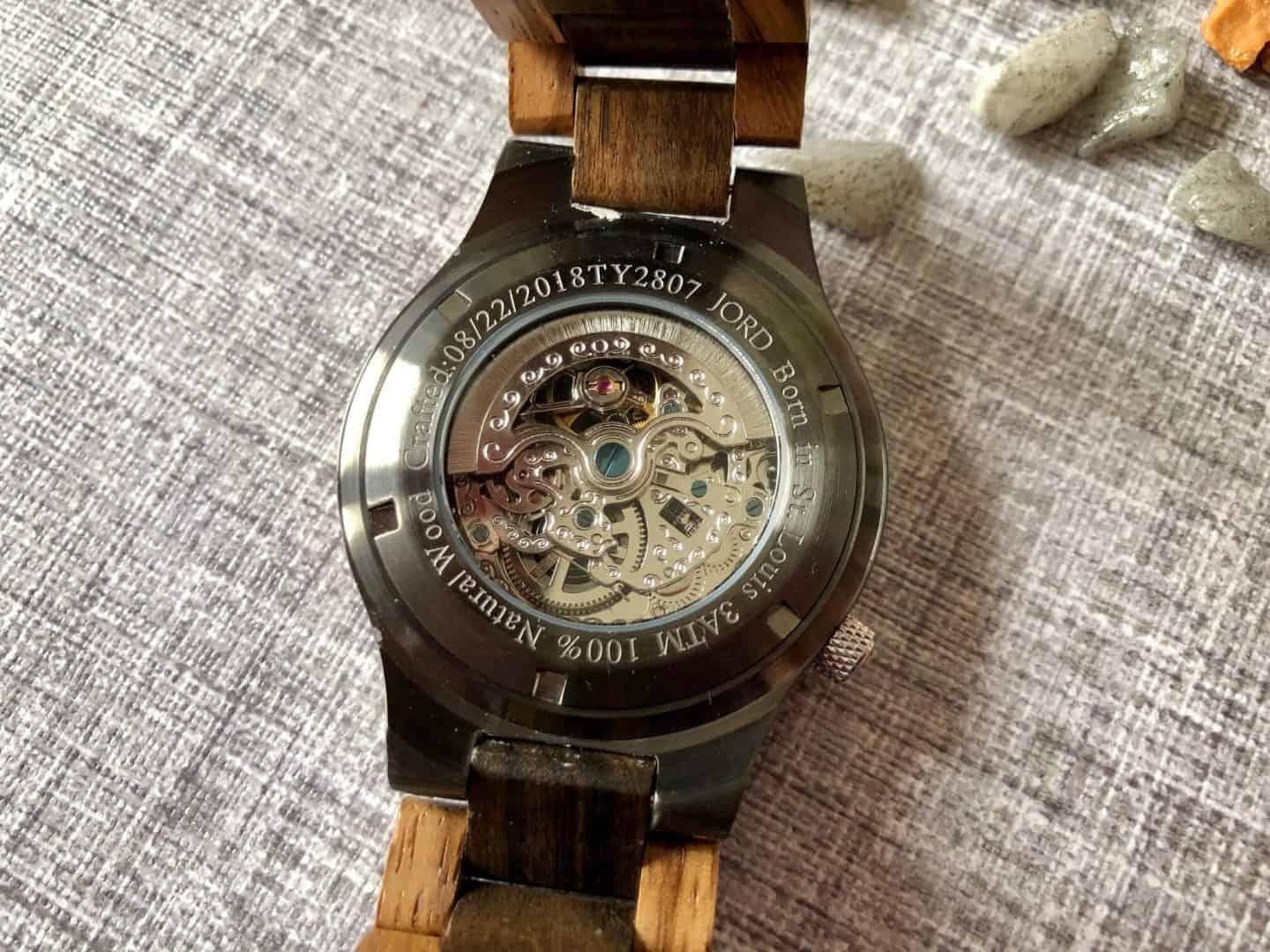 Back of JORD Wood watch