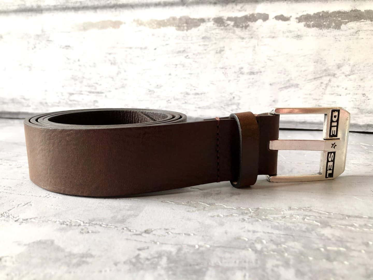 Diesel-Mens-brown-leather-belt
