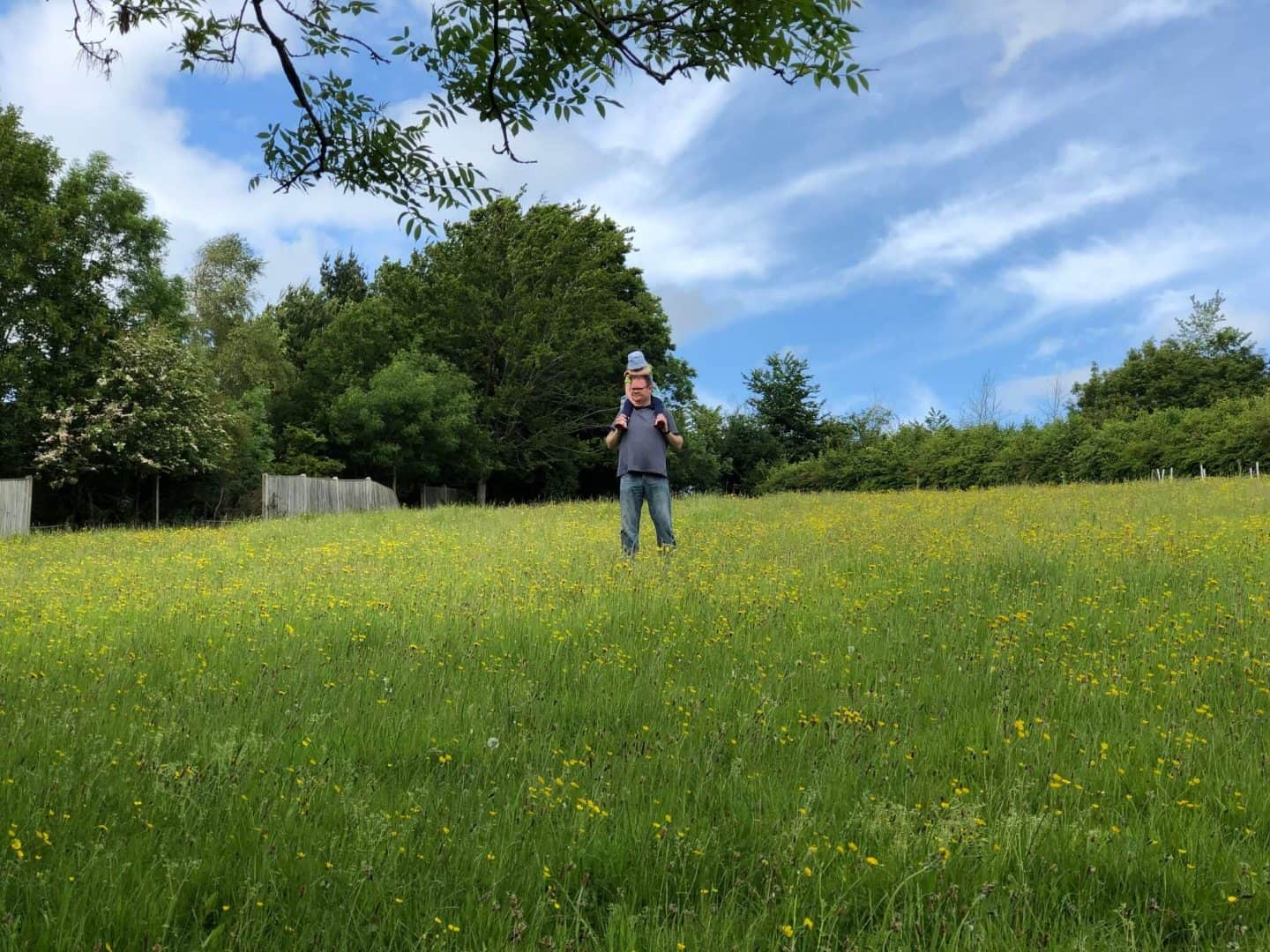 Mr-B-and-L-walking-through-a-field - What we enjoyed in May