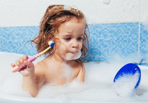 bath time with organic baby shampoo