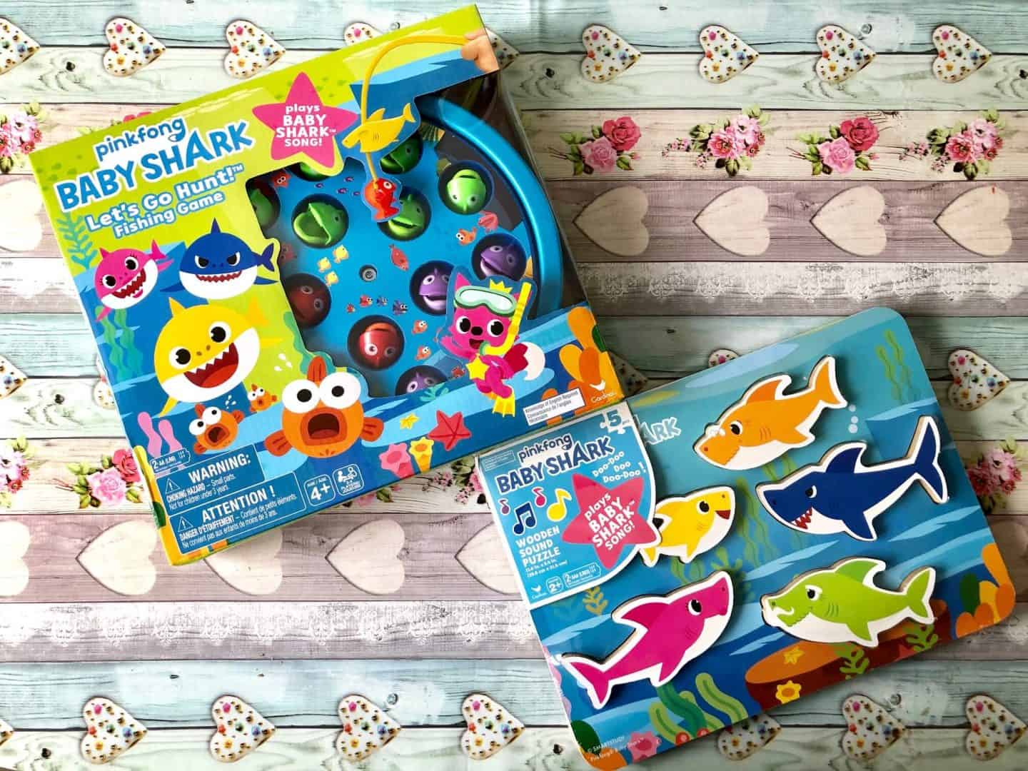 Baby Shark Let's Go Hunt game and Baby Shark Wooden Sound Puzzle