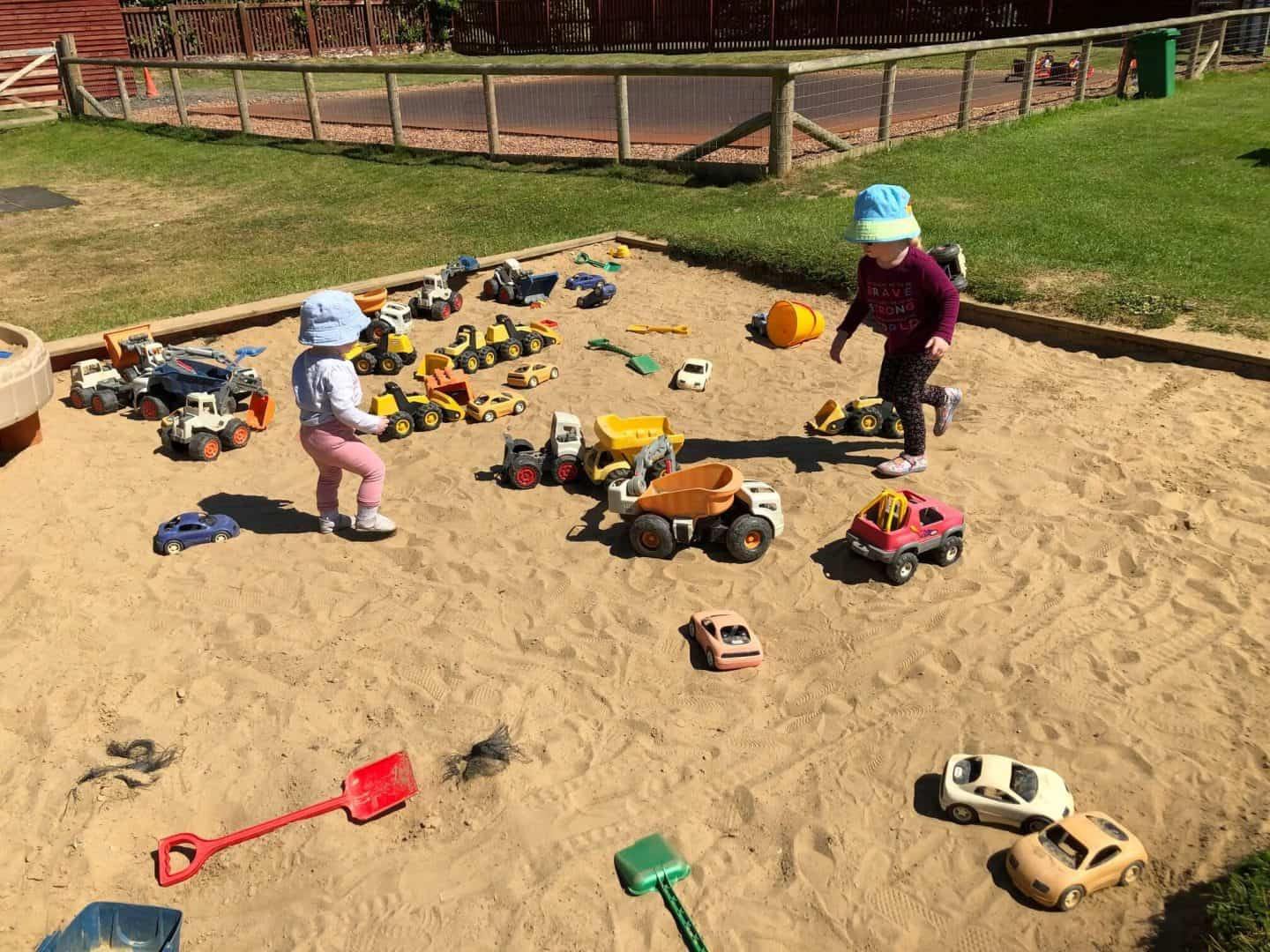 sand pit play area at diggerland