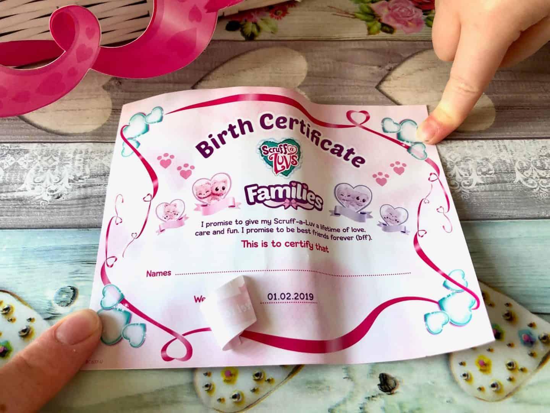 Scruff-a-luvs birth adoption certificate