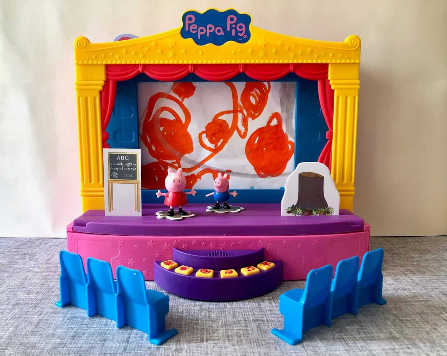 Peppa Pig Stage Playset Review with own drawing as background